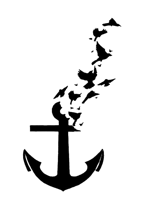 banner royalty free stock Bird tattoo anchor wall. Vector anchors calligraphy