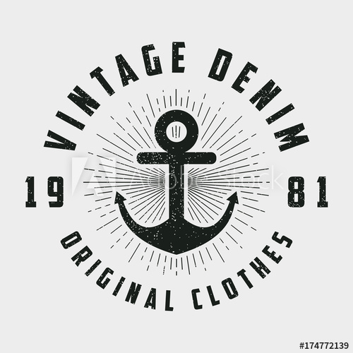 svg black and white library Vintage denim print for. Vector anchors hipster