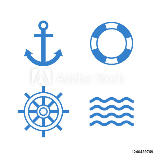 banner royalty free Vector anchors modern. Nautical icons anchor lifebuoy