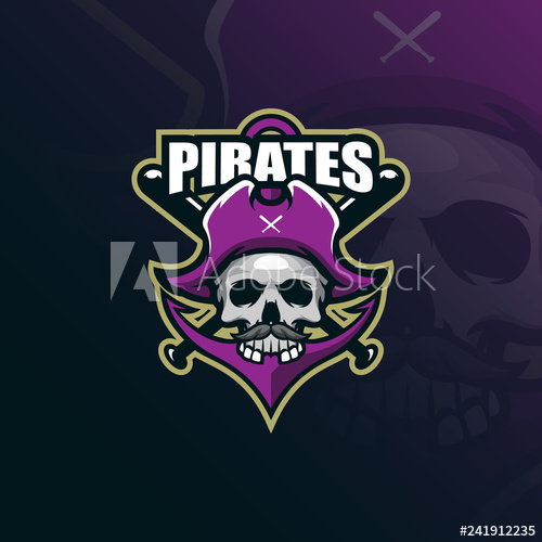 clip art transparent library Pirates mascot logo design. Vector anchors modern