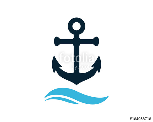 jpg royalty free library Anchor above the wave. Vector anchors ocean