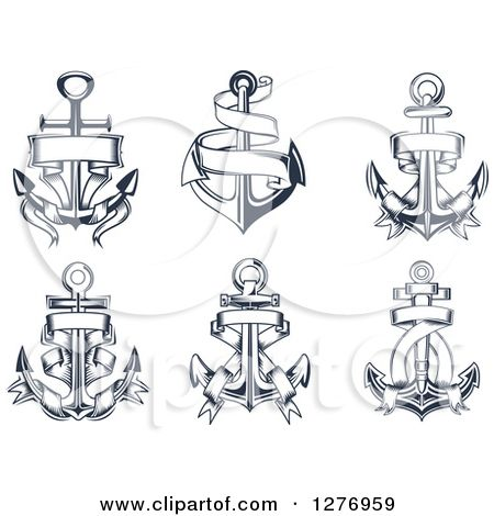 clip art black and white download Vector anchors traditional. Wonderful six anchor with