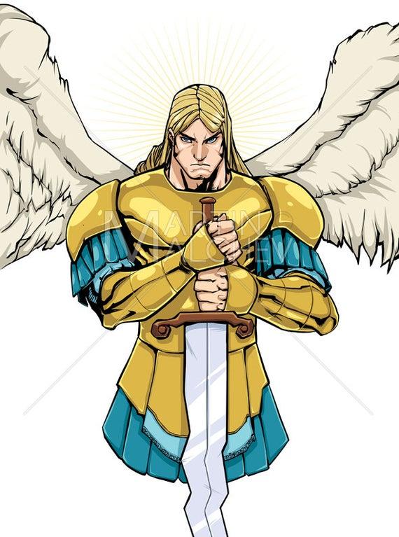 vector stock Michael portrait illustration saint. Vector angel archangel