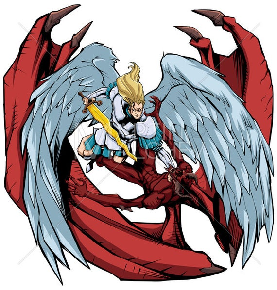clipart library Vector angel archangel. Versus devil illustration michael