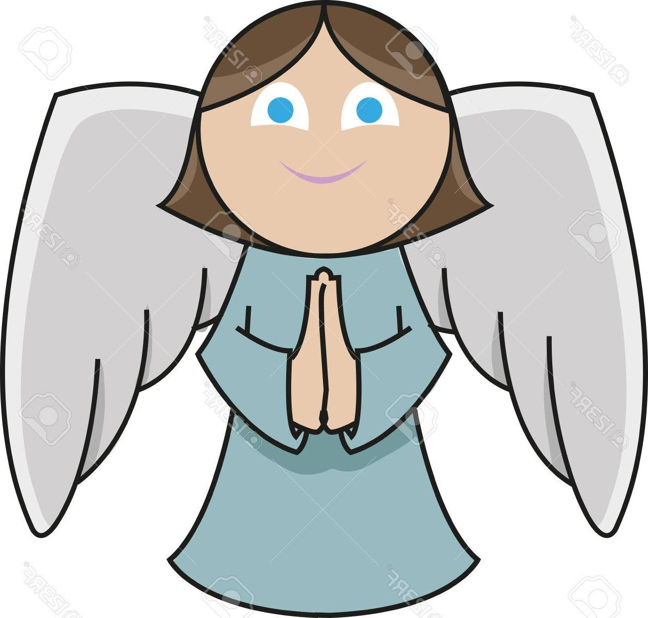 picture black and white library Best hd praying cartoon. Vector angel file