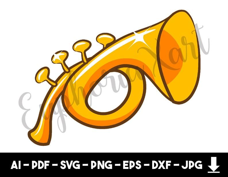 graphic royalty free library Vector angel horn. Trumpet svg clipart cricut
