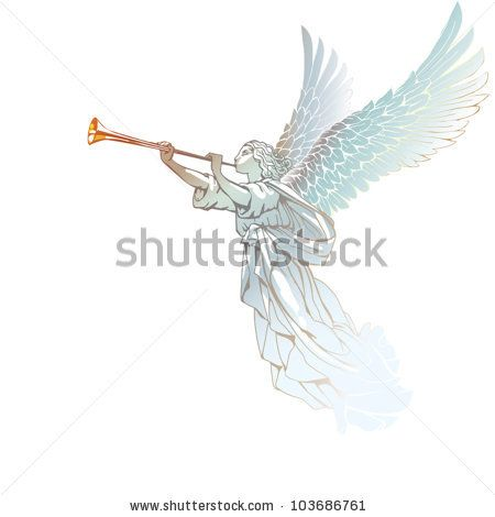 image freeuse Stock eps white with. Vector angel trumpet