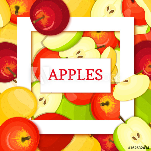 picture free Square white frame and. Vector apples background