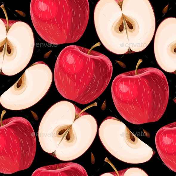 clip free download Red and apple slices. Vector apples background