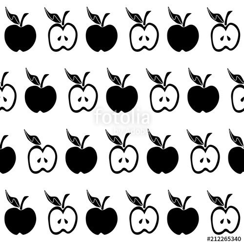 clip free stock Apple seamless pattern stock. Vector apples black and white