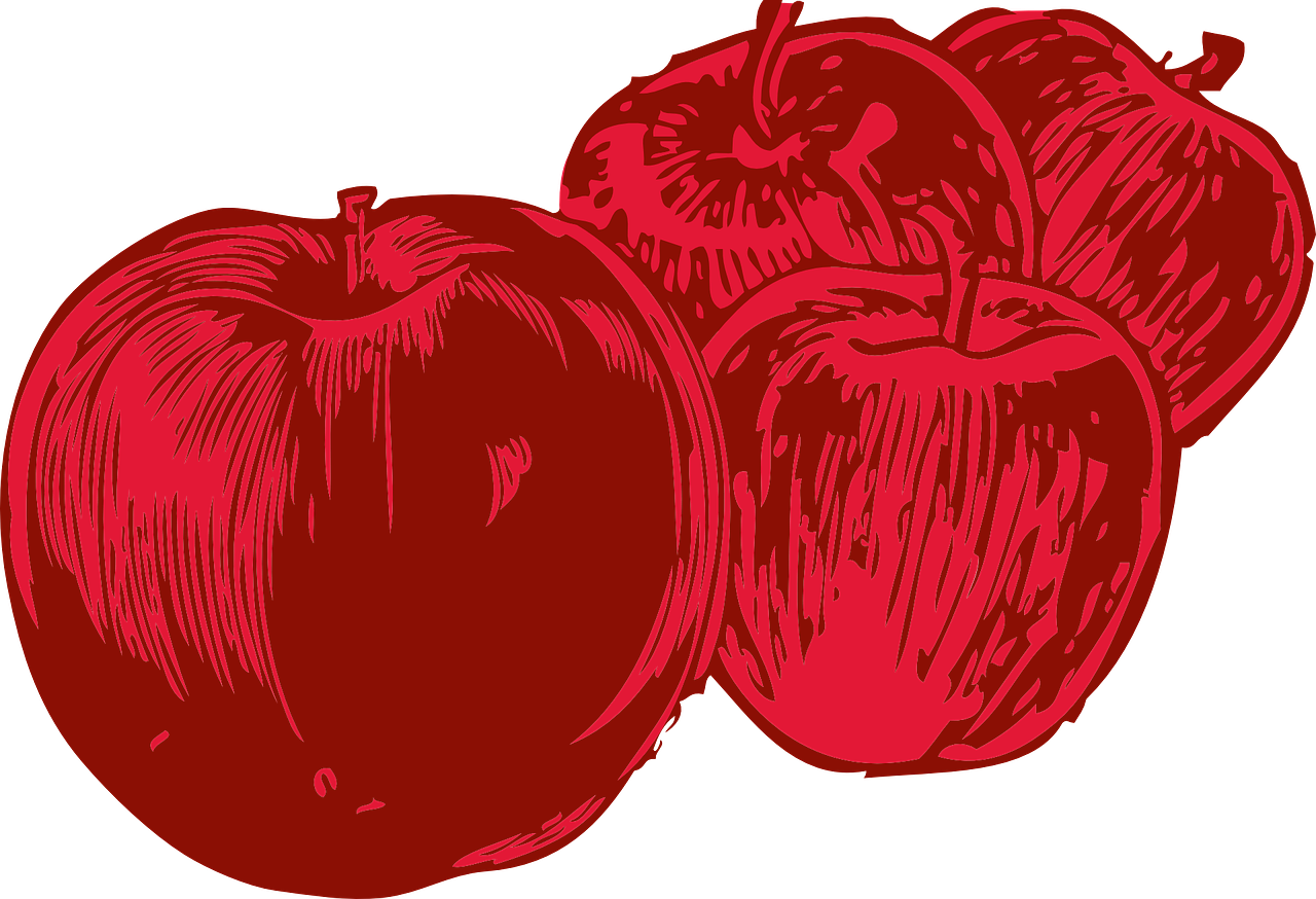 clipart freeuse stock Vector apples red. Fruit food four free