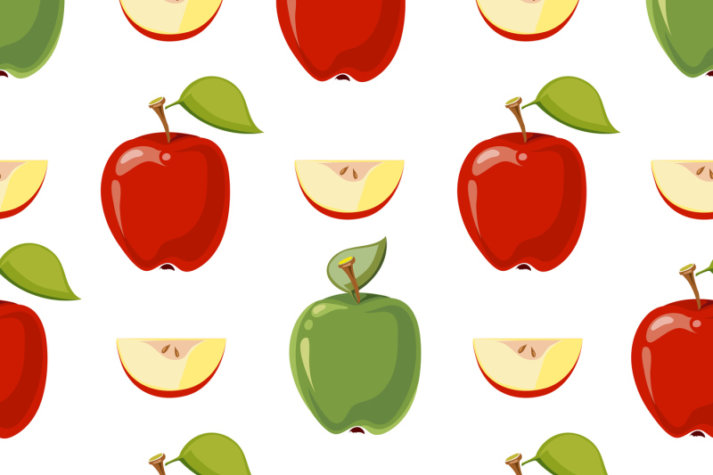 clip freeuse stock And green seamless pattern. Vector apples red