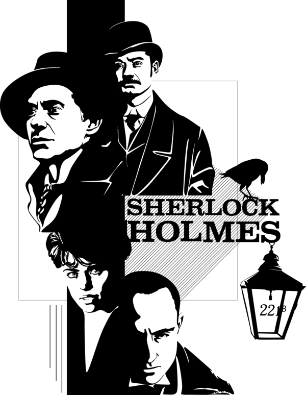graphic transparent Vector artist poster. Sherlock holmes by mad