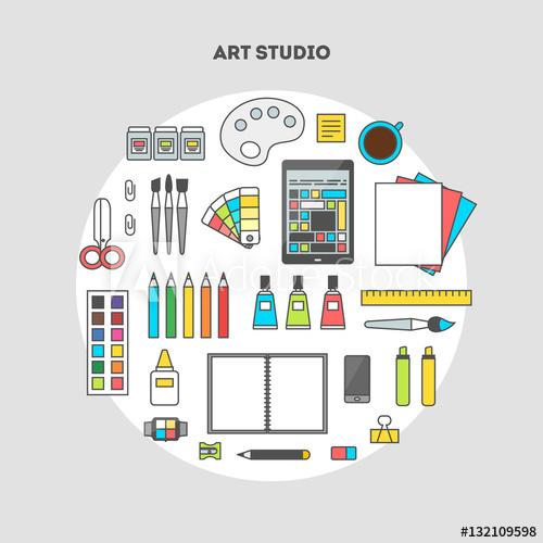 clip art black and white Flat design illustration of. Vector artist workspace