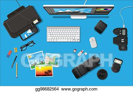 clip art library library Vector artist workspace. Art of photographer clipart