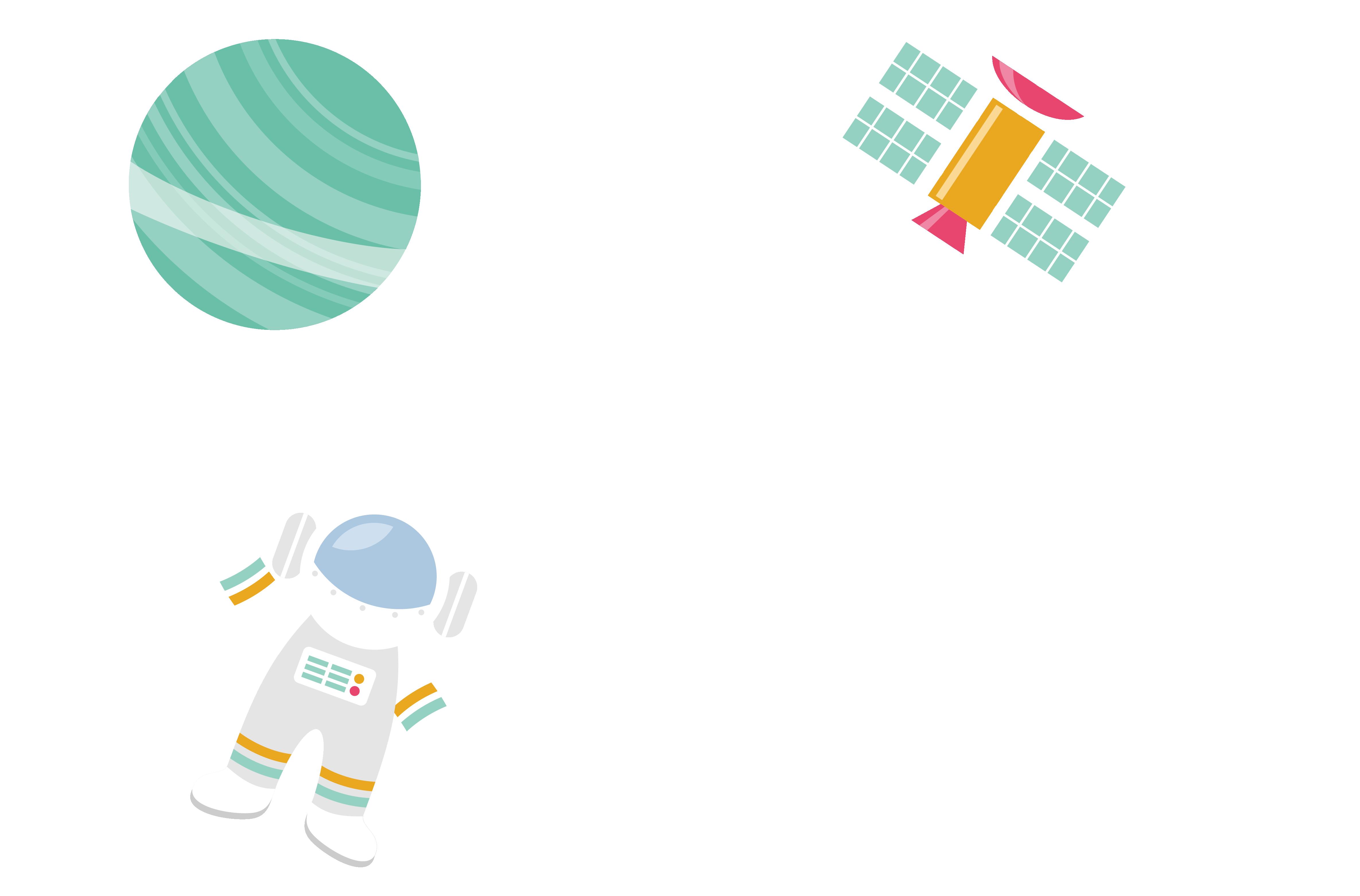 transparent stock Universe vector space wallpaper. Astronaut satellite icon astronauts
