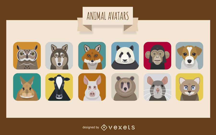 vector black and white Vector avatar animal. Set download