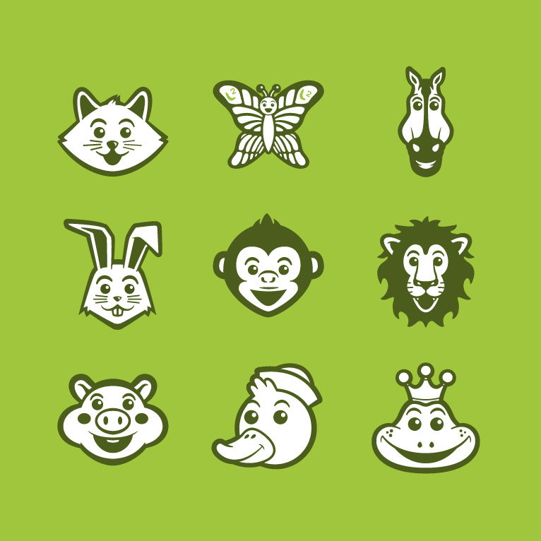 banner black and white library Design icon sets in. Vector avatar animal