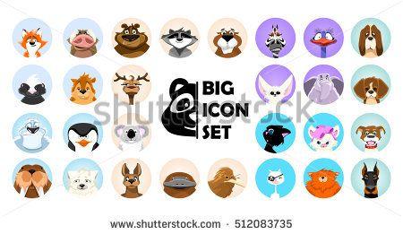 svg royalty free stock Vector avatar cute. Set emotions animals cartoon