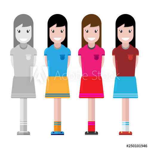 png royalty free stock Girl with smile happy. Vector avatar cute