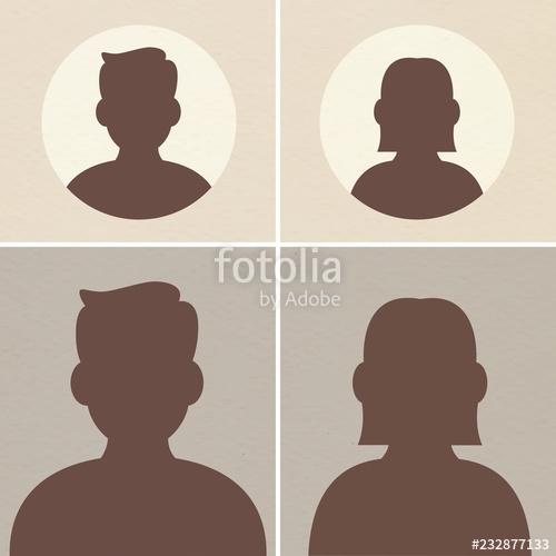 clip free stock Basic male female silhouette. Vector avatar default
