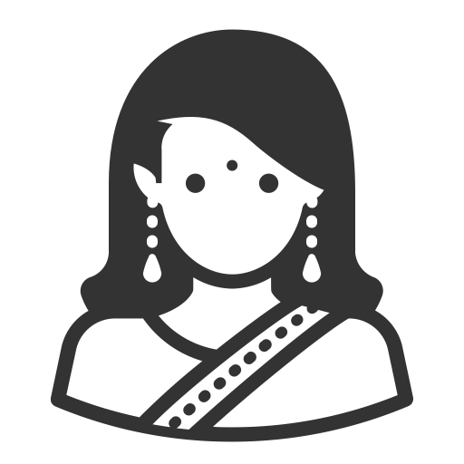 png stock Vector avatar indian. Glyph woman long hair