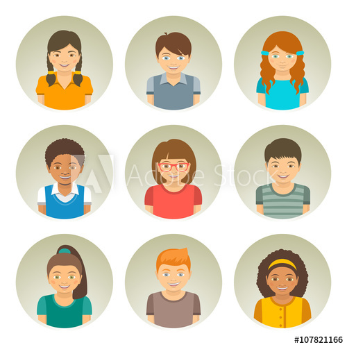 clip art freeuse download Kids of different races. Vector avatar infographic
