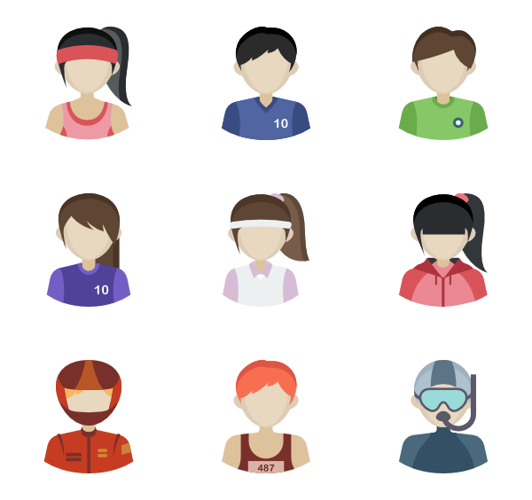 vector freeuse Vector avatar people. Round icons free sporting