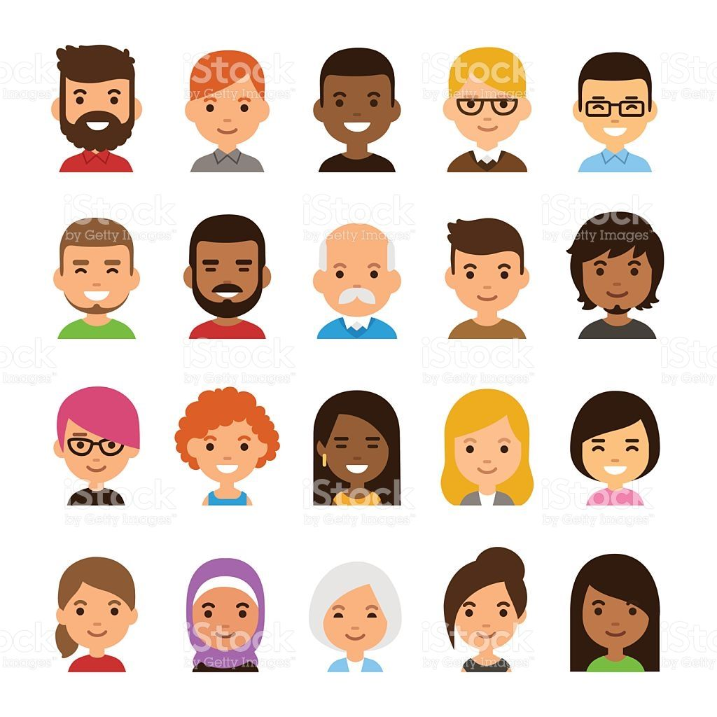 vector free library Diverse set isolated on. Vector avatar simple
