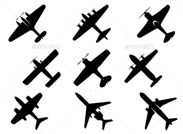 picture black and white library Black silhouette icons travel. Vector aviation aircraft mechanic