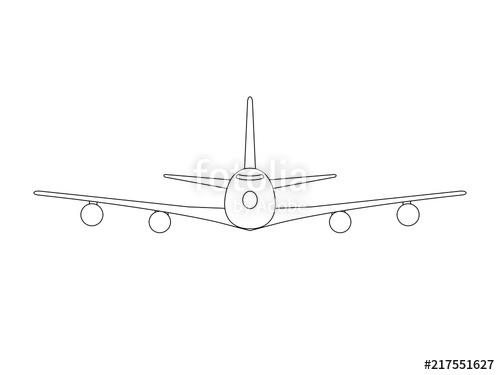 banner free stock Simple black on white. Vector aviation jumbo jet
