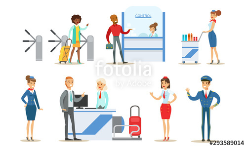 svg freeuse People in airport set. Vector aviation person