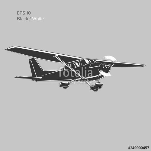 clip library download Plane illustration single engine. Vector aviation small airplane