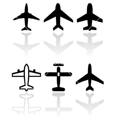 banner black and white Symbol set by bytedust. Vector aviation small airplane
