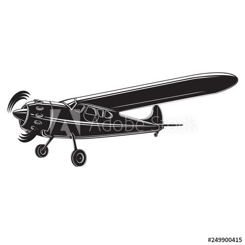 graphic transparent stock Vector aviation small airplane. Vintage plane illustration single