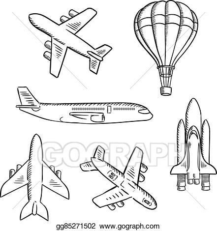 svg black and white Vector aviation space. Eps illustration airplanes shuttle