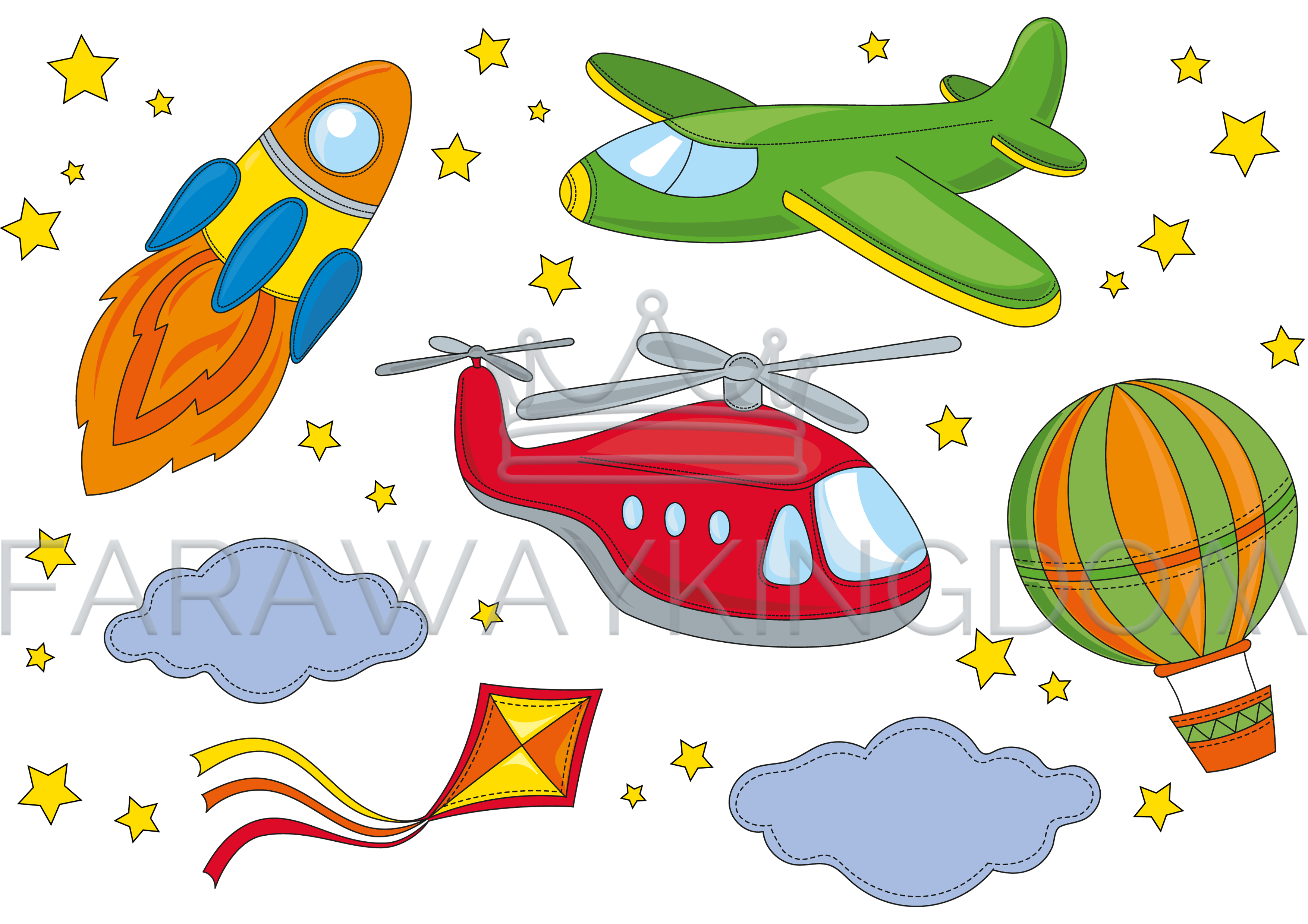 banner free download Vector aviation space. Fly air travel cartoon