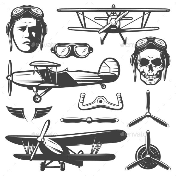 banner Aircraft elements set decorative. Vector aviation vintage airplane