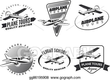 clipart free library Stock set of emblems. Vector aviation vintage airplane