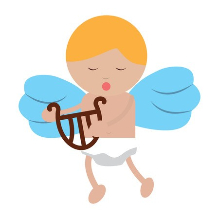 vector black and white library Vector baby angel. Playing harp lyre icon