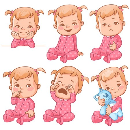 graphic freeuse stock Of set with cute. Vector baby emotion