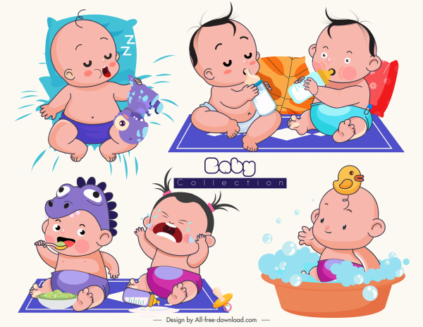 png royalty free stock Vector baby emotion. Icons funny sketch cartoon