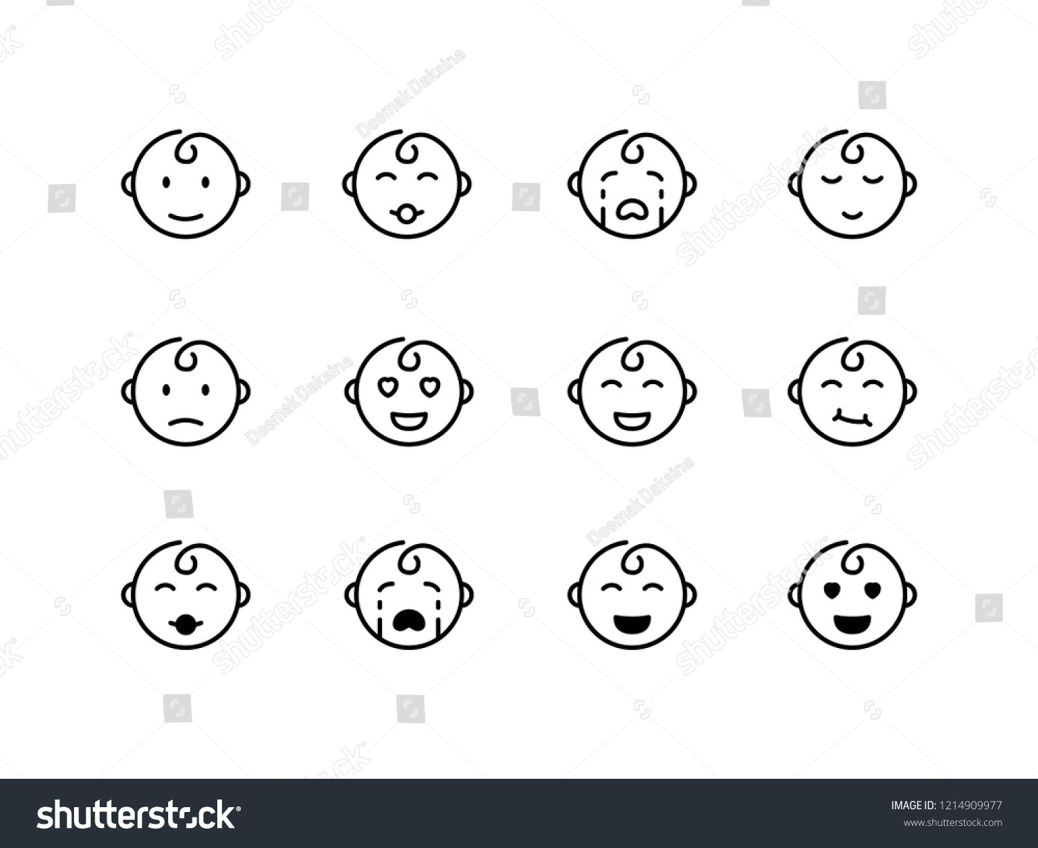 graphic black and white download Face icon design cute. Vector baby emotion