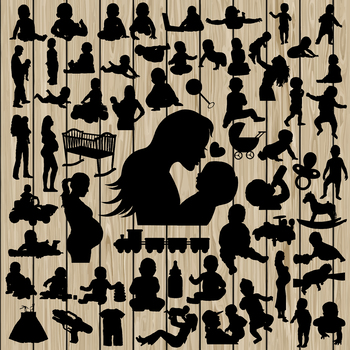 picture royalty free library  silhouette svg dxf. Vector baby file