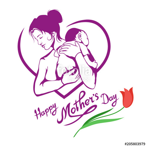 graphic library download Mothers hand drawn mother. Vector baby mother's day