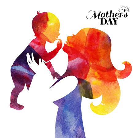 freeuse download Watercolor mother silhouette with. Vector baby mother's day
