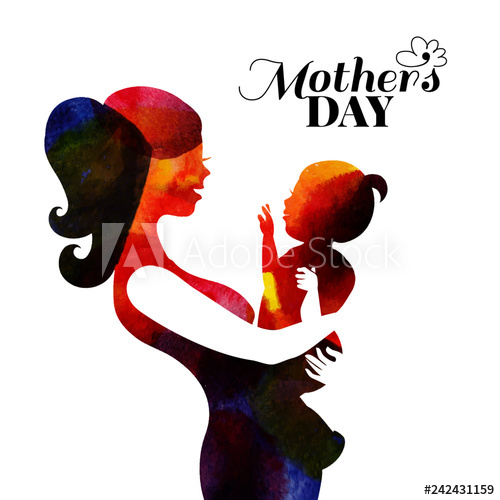 freeuse download Vector baby mother's day. Watercolor mother silhouette with