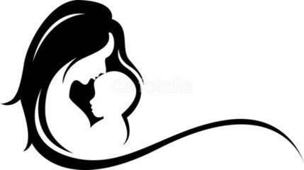 graphic royalty free library Mother silhouette tattoo google. Vector baby mum