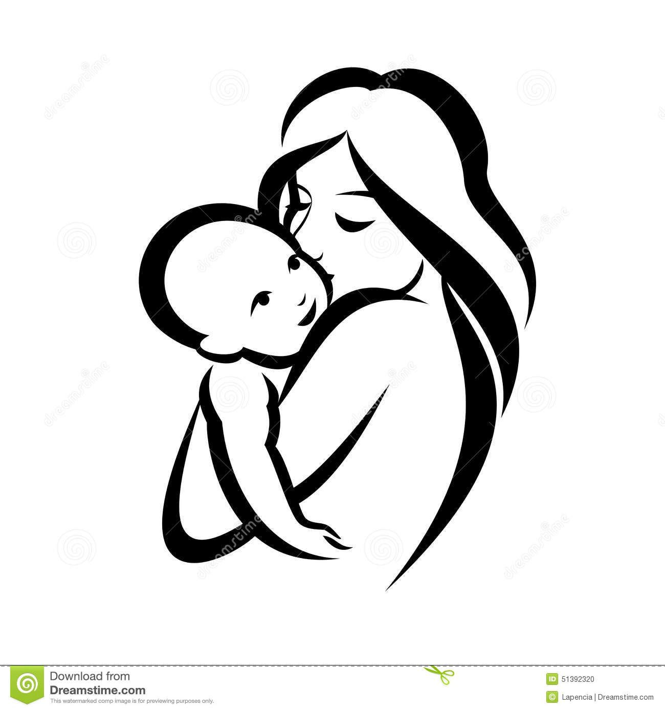banner stock Mother and symbol download. Vector baby mum