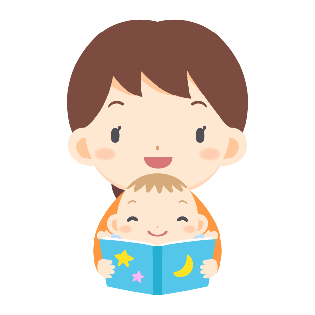 banner freeuse library Vector baby reading. Woman a picture book